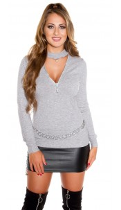Sexy V-Cut Sweater with XL Zip Grey