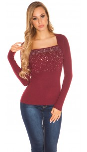 Sexy 2in1 sweater with rhinestones Bordeaux