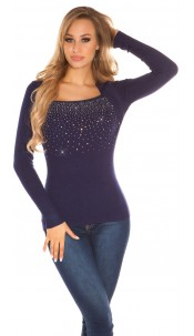 Sexy 2in1 sweater with rhinestones Navy