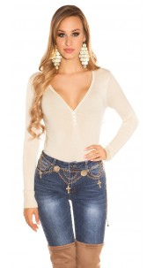 Sexy Basic fine knit V jumper Beige