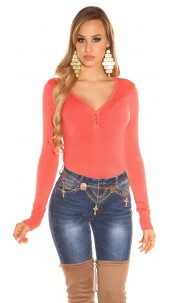 Sexy Basic fine knit V jumper Coral
