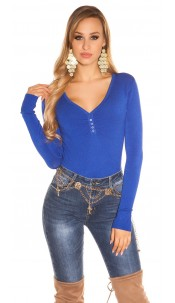 Sexy Basic fine knit V jumper Royalblue