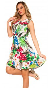 Trendy summer dress with loop and flower print White