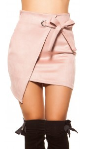 Sexy suede look mini skirt wrap look Antiquepink