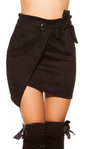 Sexy suede look mini skirt wrap look Black
