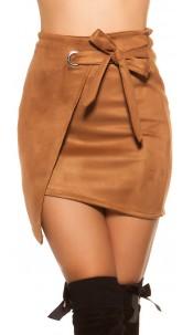 Sexy suede look mini skirt wrap look Brown