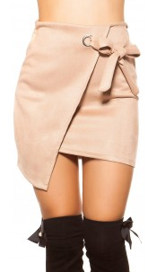 Sexy suede look mini skirt wrap look Cappuccino