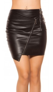 Sexy leatherlook skirt with zippers Black