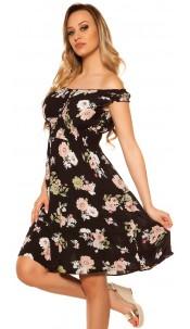 Sexy Offshoulder Summer dress w. flowerprint Black