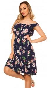 Sexy Offshoulder Summer dress w. flowerprint Navy