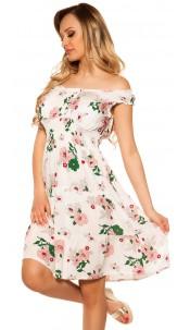 Sexy Offshoulder Summer dress w. flowerprint White