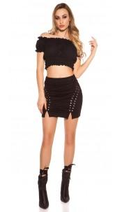 Sexy mini Skirt suede look Black