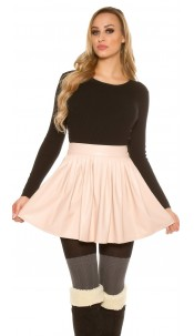 Sexy leather look pleated mini skirt Antiquepink