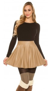 Sexy leather look pleated mini skirt Cappuccino