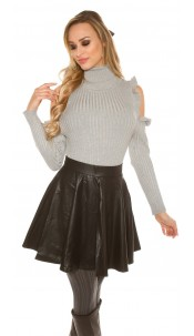 Sexy leather look pleated mini skirt with zip Black