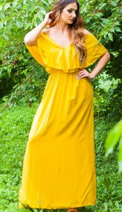 Sexy Maxi Summer Dress Wrap Look Yellow