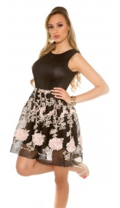 Sexy Mesh Skater Mini Dress with Embroidery Black