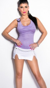 Sexy Top with cowl neck and buckle Lilac
