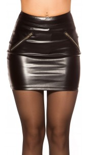 Sexy KouCla leather look Mini skirt Black
