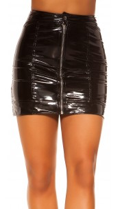 Sexy KouCla Latex Look Skirt with Zip Black