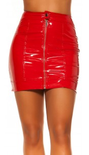 Sexy KouCla Latex Look Skirt with Zip Red