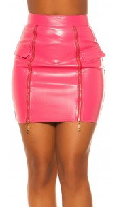 Sexy KouCla Lether Look Skirt with Zips Fuchsia