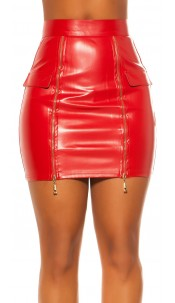 Sexy KouCla Lether Look Skirt with Zips Red