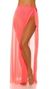 Sexy KouCla Beach Tulle Warparound Skirt Neoncoral
