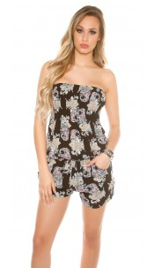 Sexy Bandeau Playsuit in Paisley Print Black