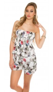 Sexy Bandeau Playsuit floral print Red
