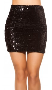 Sexy Mini Skirt With Change Sequins Black