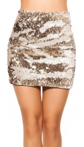 Sexy Mini Skirt With Change Sequins White