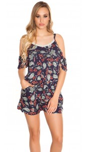 Sexy Coldshoulder Playsuit Paisley Print Navy