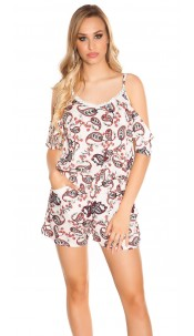 Sexy Coldshoulder Playsuit Paisley Print White