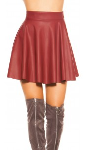 Sexy KouCla mini skirt leather look, lined Bordeaux