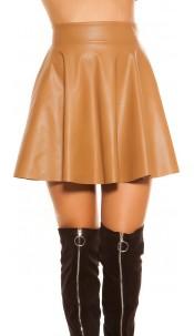 Sexy KouCla mini skirt leather look, lined Caramel