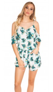 Sexy Coldshoulder Playsuit Butterfly Print White