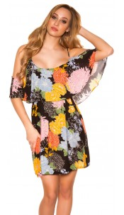 Sexy Summer minidress flower print Black