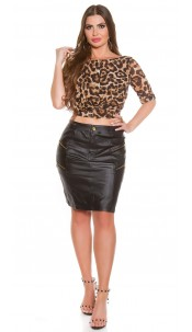 Curvy Girls Size! Sexy leather look skirt Black