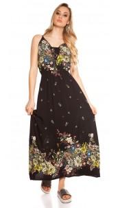Sexy long summer dress Coachella-Style Black