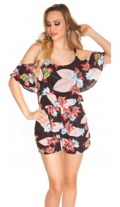 Sexy Summer Playsuit with floral pattern Black
