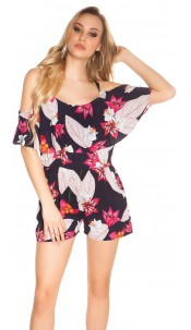 Sexy Summer Playsuit with floral pattern Navy