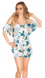 Sexy Summer Playsuit with floral pattern White