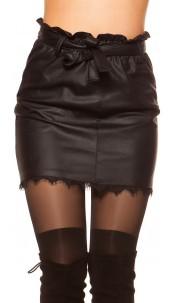 Sexy leatherlook mini skirt with lace hem & belt Black
