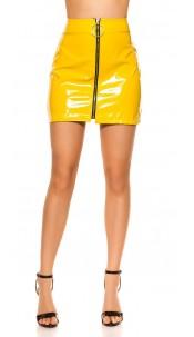 Sexy Wetlook mini skirt with XXL Zip Yellow