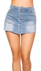 Sexy LightWash Jeansskorts used look Jeansblue