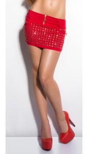 Sexy KouCla miniskirt with glitterstones Red