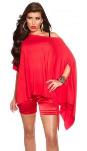 Trendy KouCla XXL-Shirt asymmetric Red