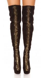 Sexy Overknees with rhinestones & metal look decor Blackgold