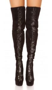 Sexy Overknees with rhinestones & metal look decor Blacksilver